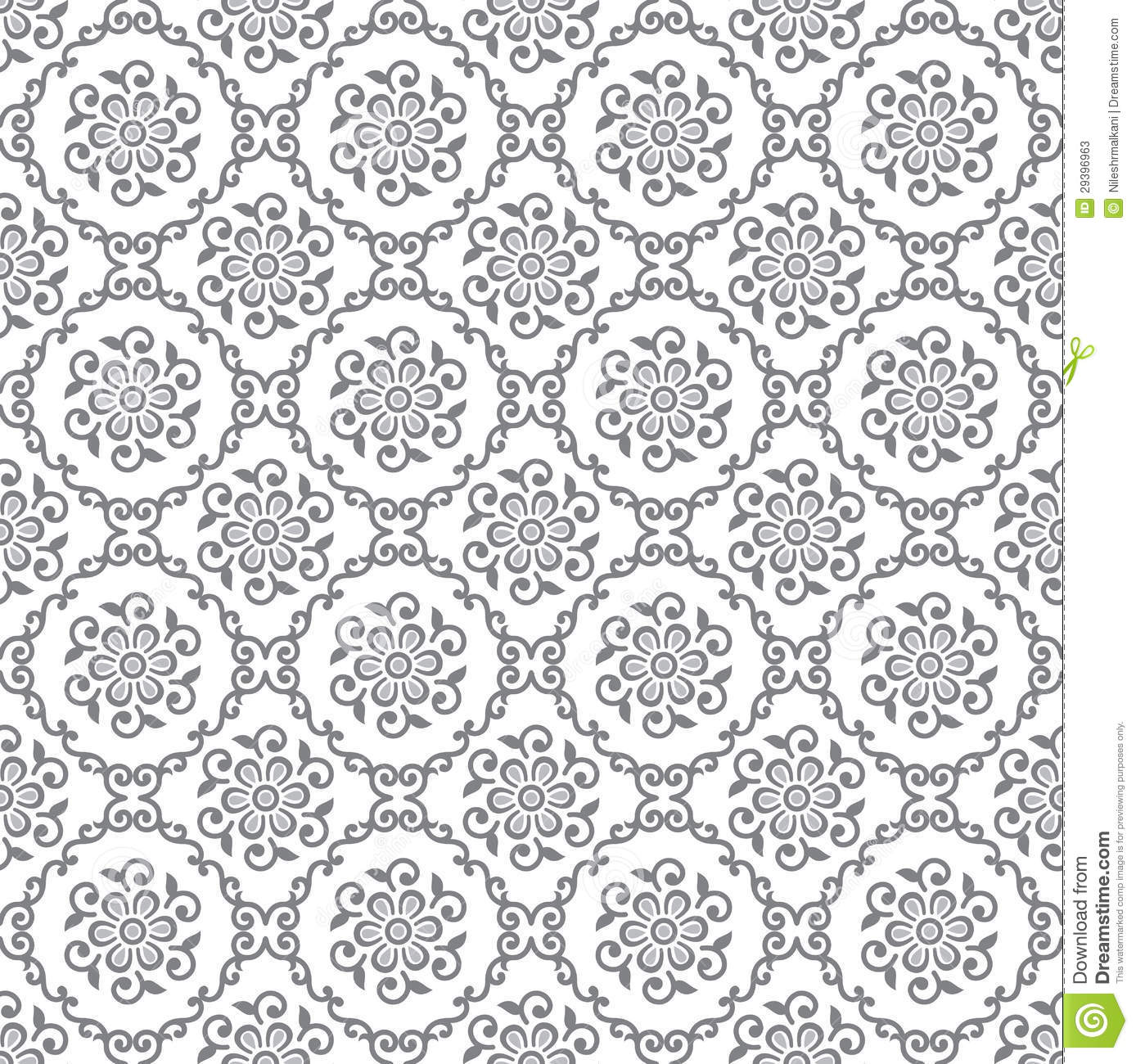 Seamless Silver Floral Royal Wallpaper Illustration 29396963