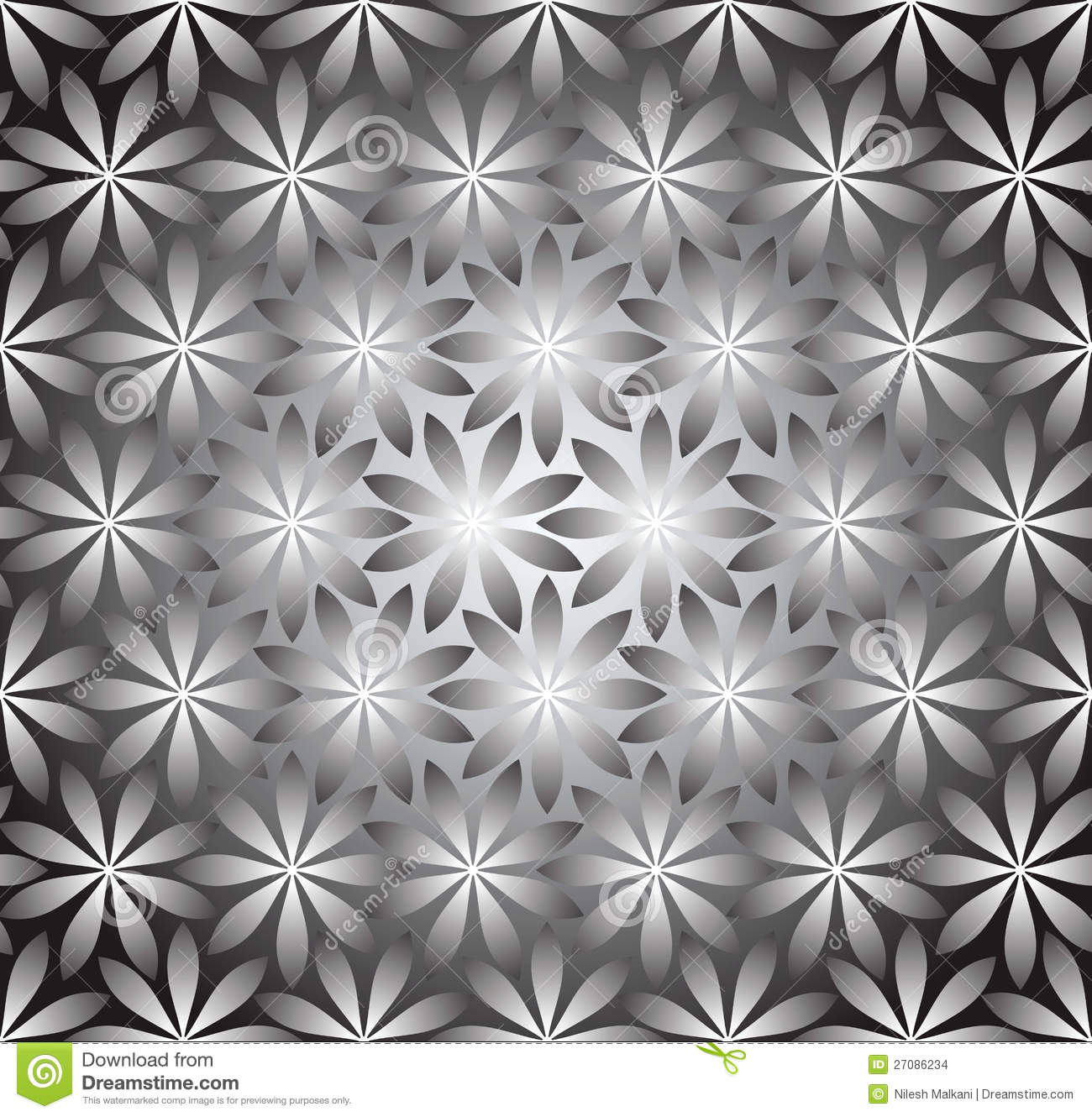 Seamless Silver Wallpaper Of Flowers Stock Vector Illustration Of