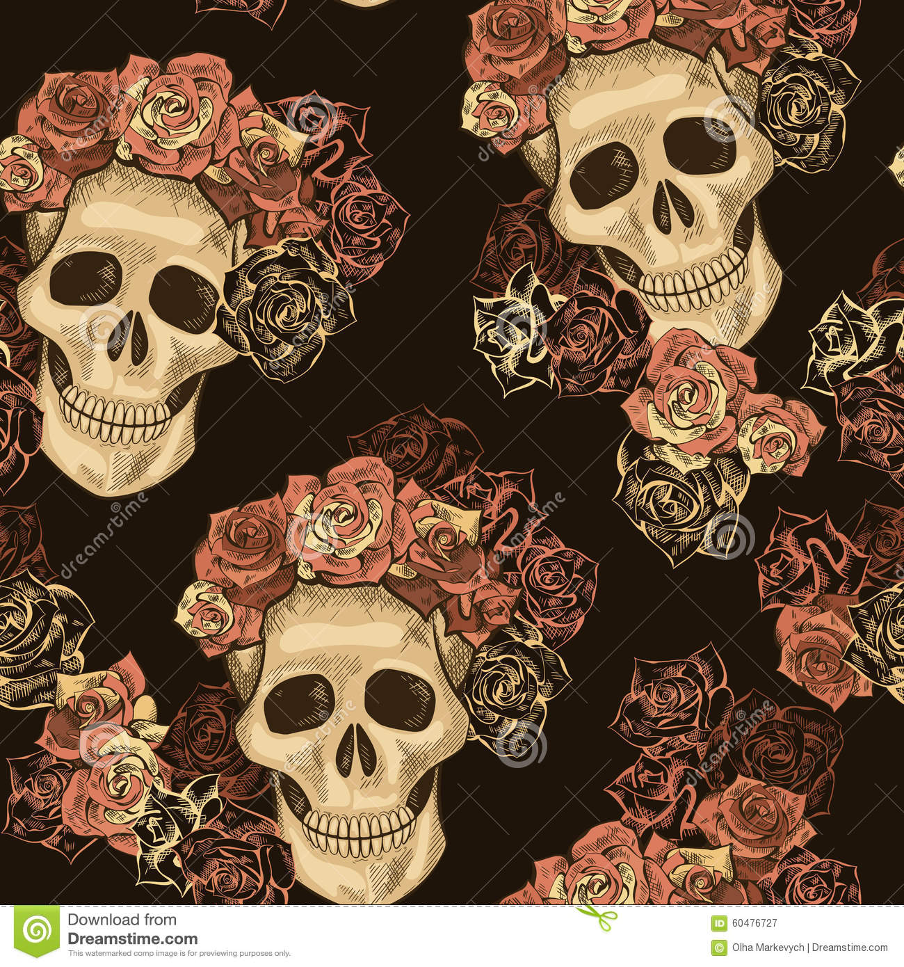 Seamless Skull Pattern Stock Vector - Image: 60476727