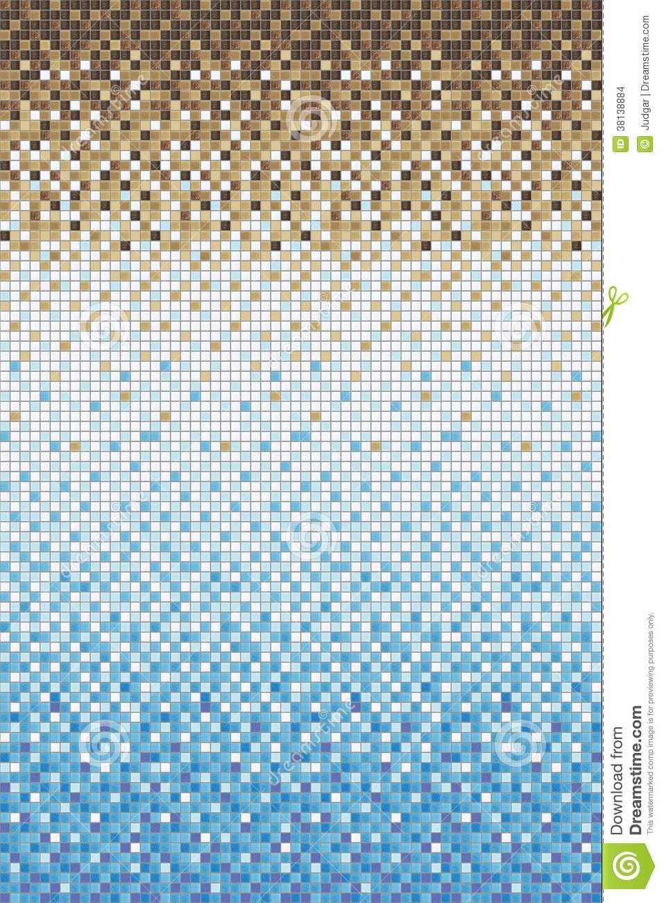 Seamless Smooth Transition Of Color Mosaic From Blue To