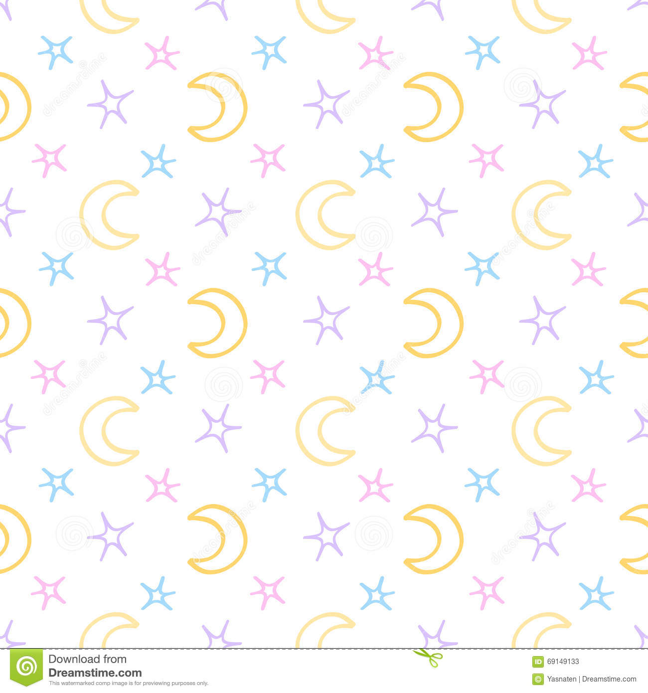 Seamless Soft Stars And Moon Baby Night Background Stock