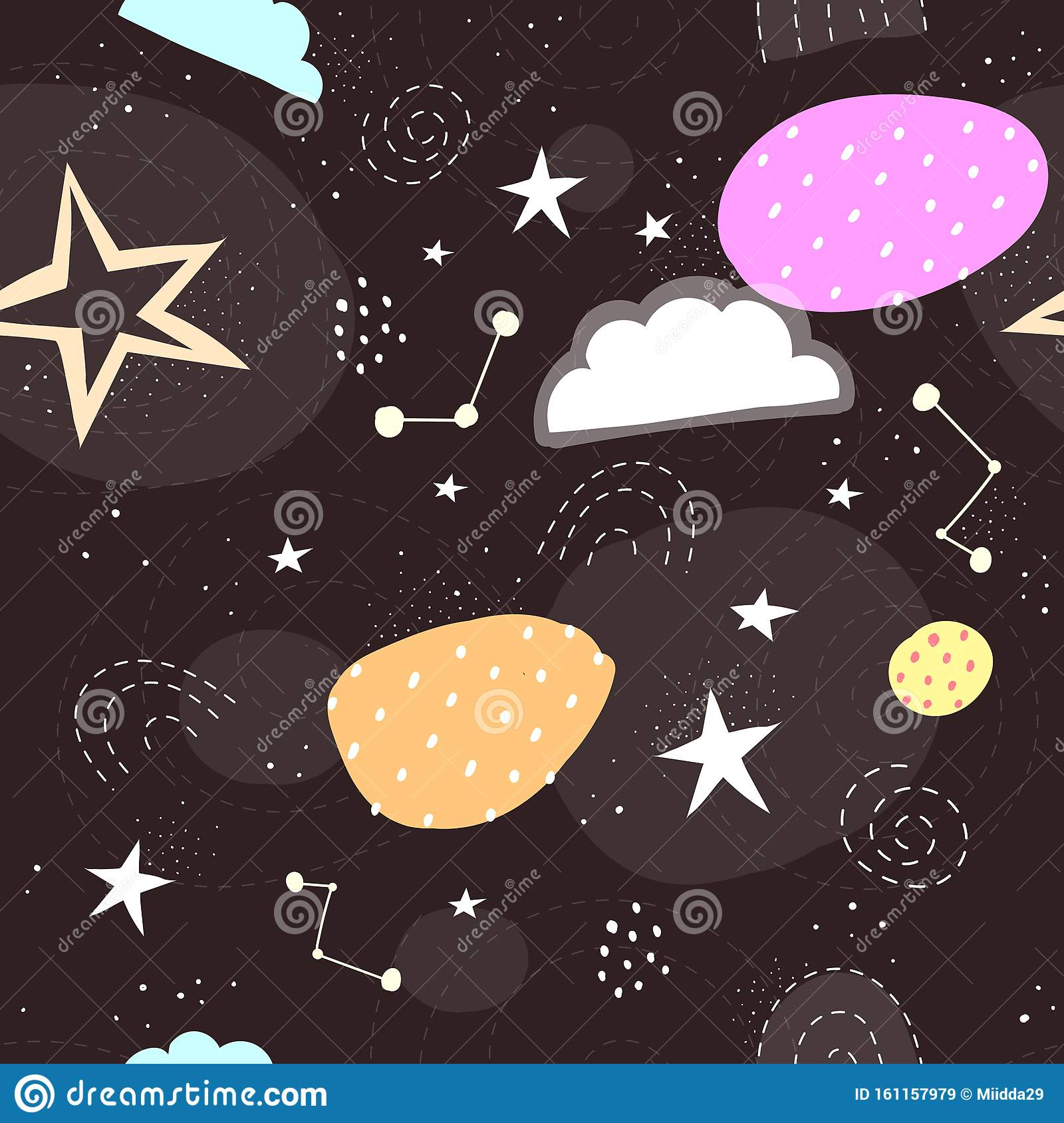 Seamless Space Pattern With Stars Clouds Rainbow Decor Elements