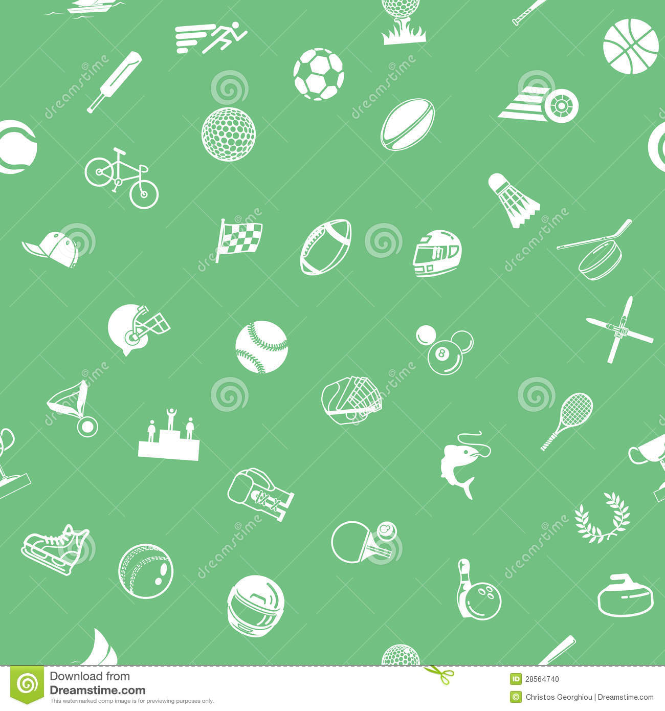 repeating seamless sport background tile texture with lots of ...