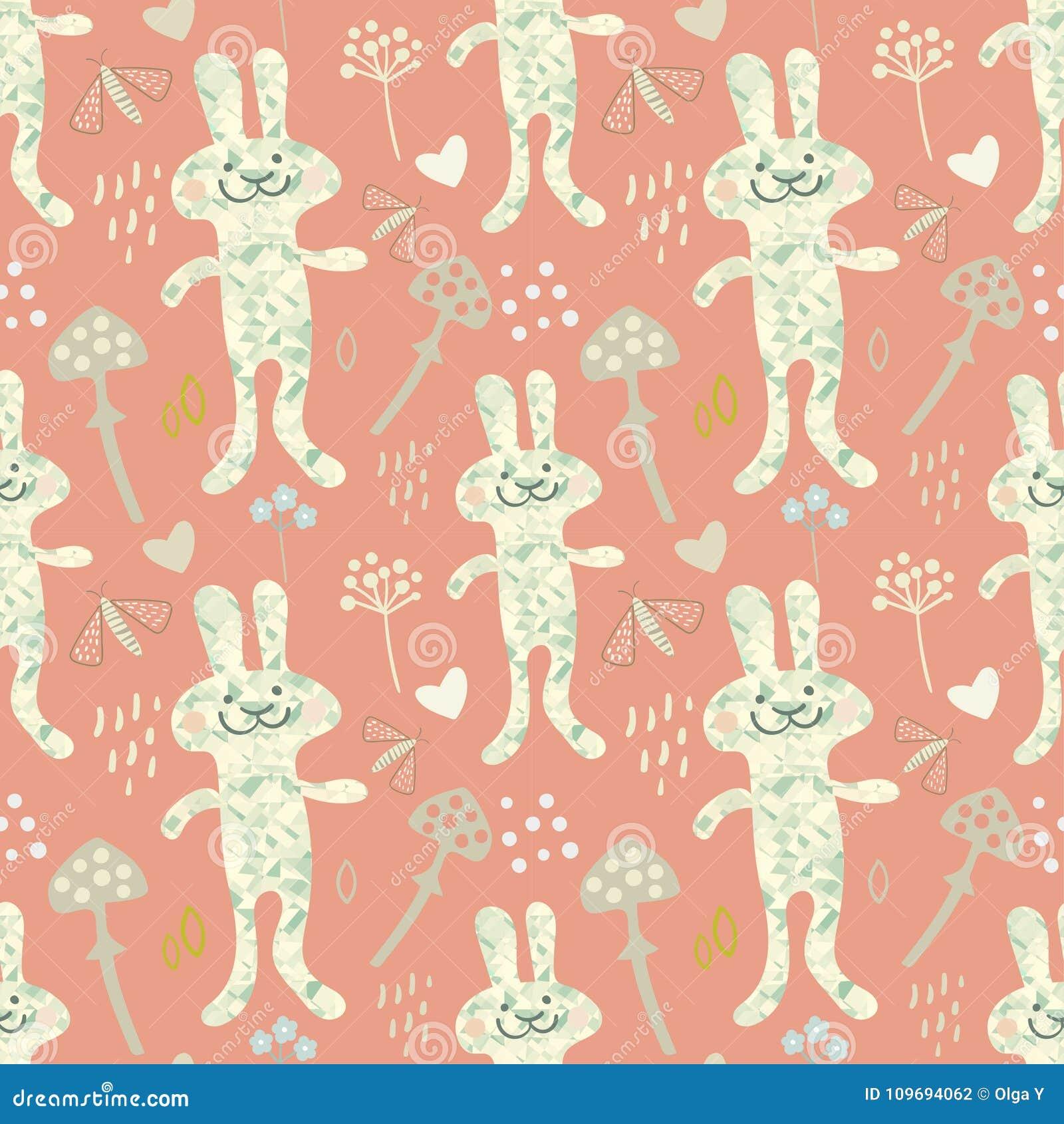 seamless spring bunny rabbit pattern vector illustration stock