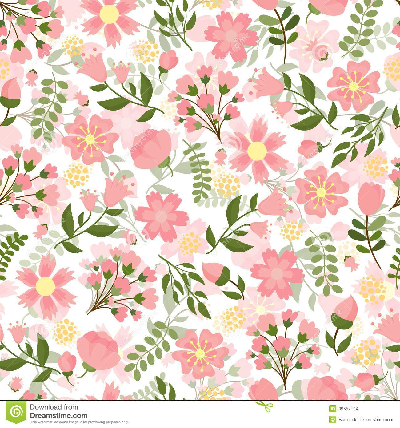 Spring Green Leaves And Flowers Background With Plants: Seamless Spring Floral Background Stock Vector