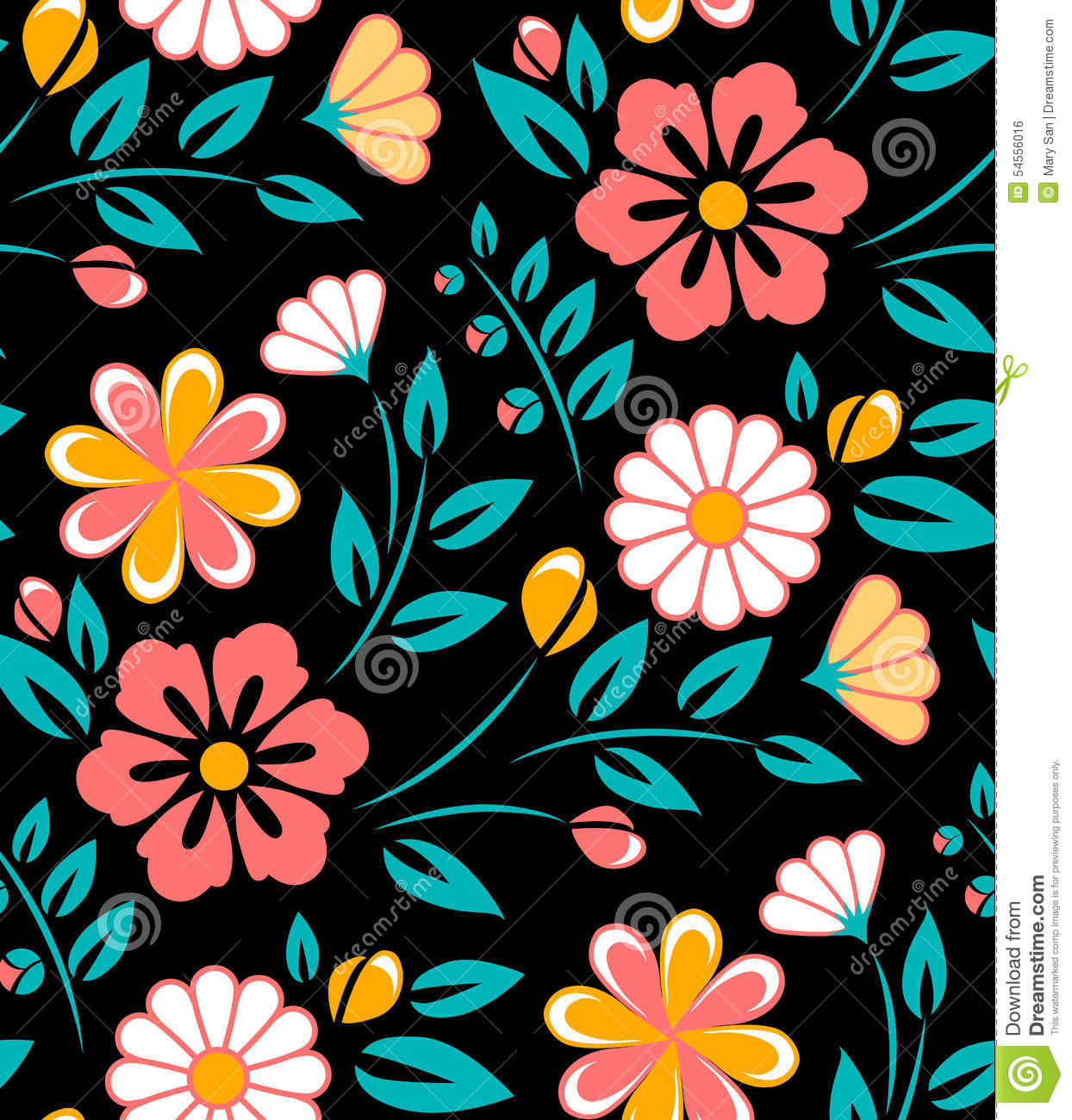 Seamless Spring Flower Pattern On Black Background Stock Vector