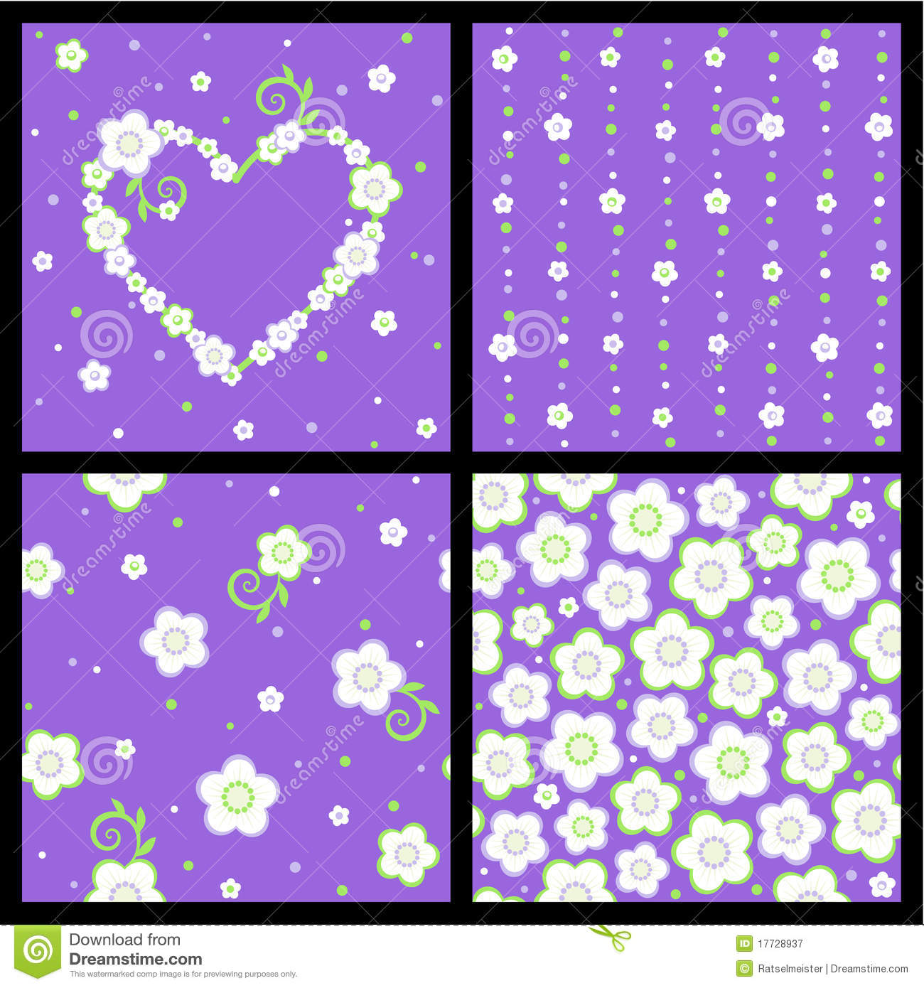 Seamless spring and Valentine floral patterns