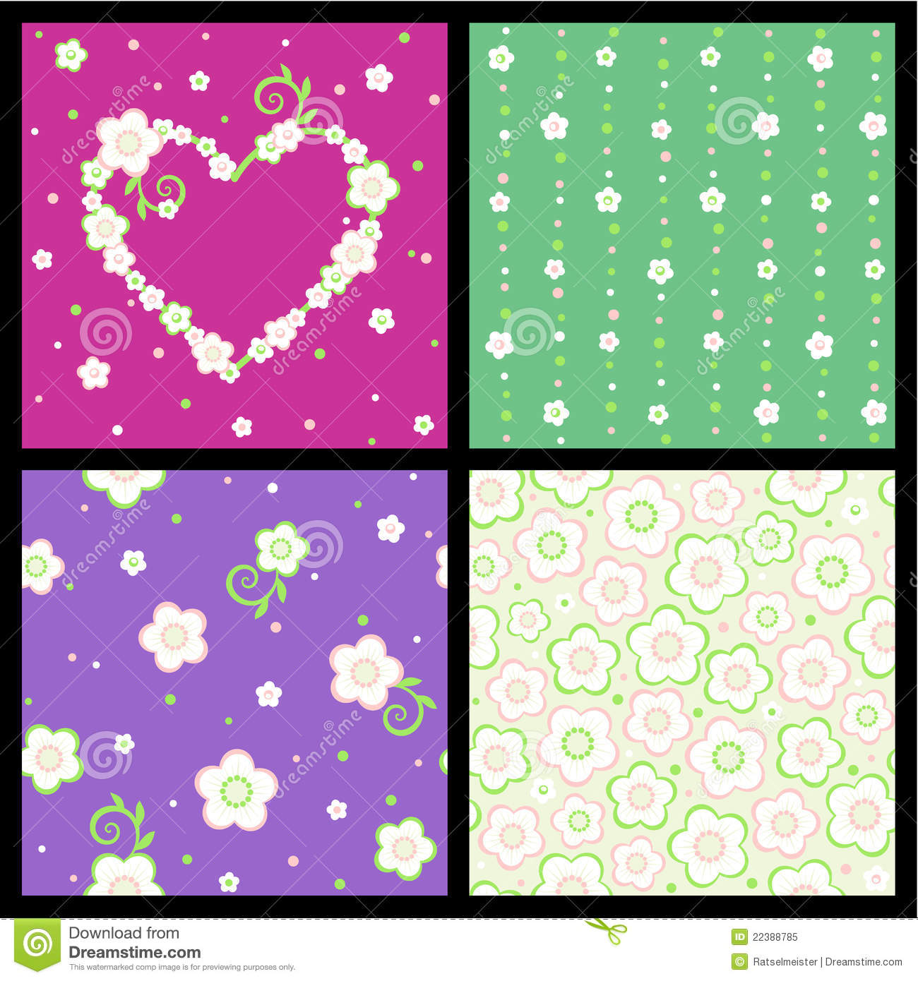 Download Seamless Spring And Valentine Floral Patterns Stock Vector - Illustration of dots, love: 22388785