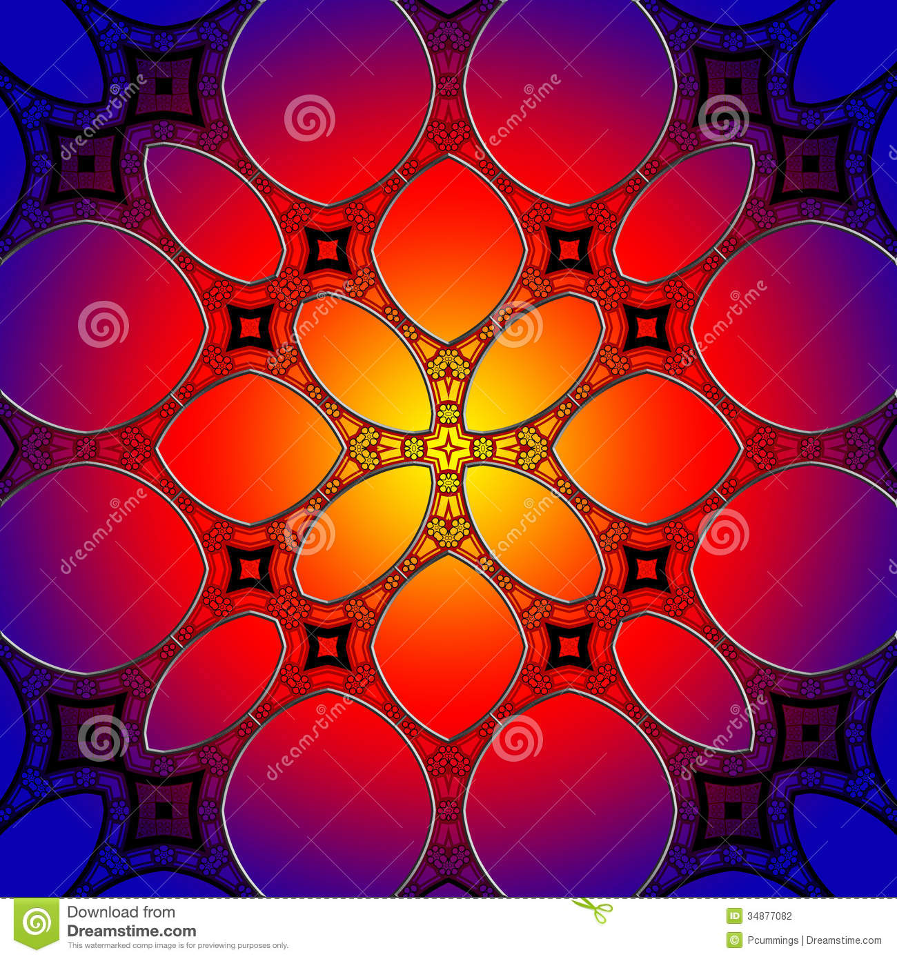 Seamless Stained Glass Pattern Background Stock Illustration