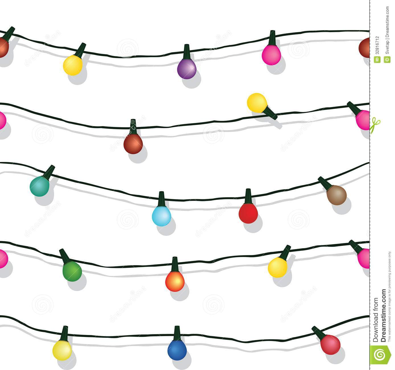 Seamless string of christmas lights isolated on white