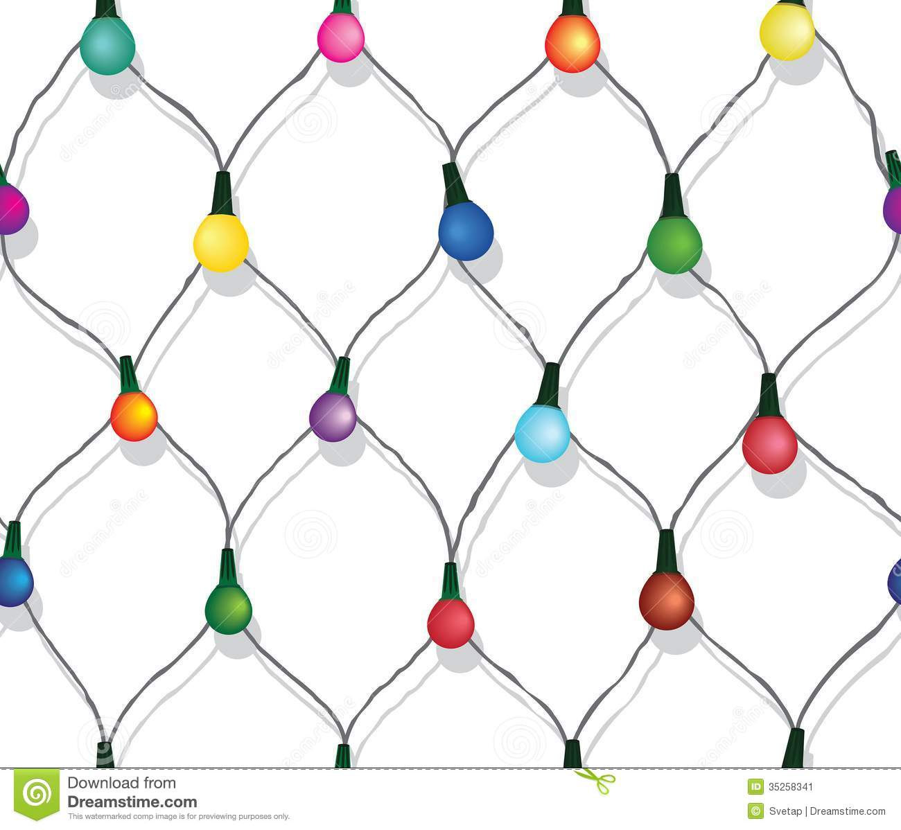 Seamless String Of Christmas Lights On Garland Vector Background Isolated White