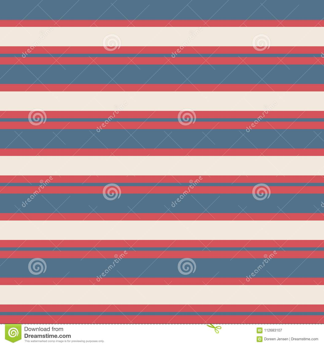 Seamless stripe vintage pattern with colored horizontal parallel stripes red, blue and cream background.