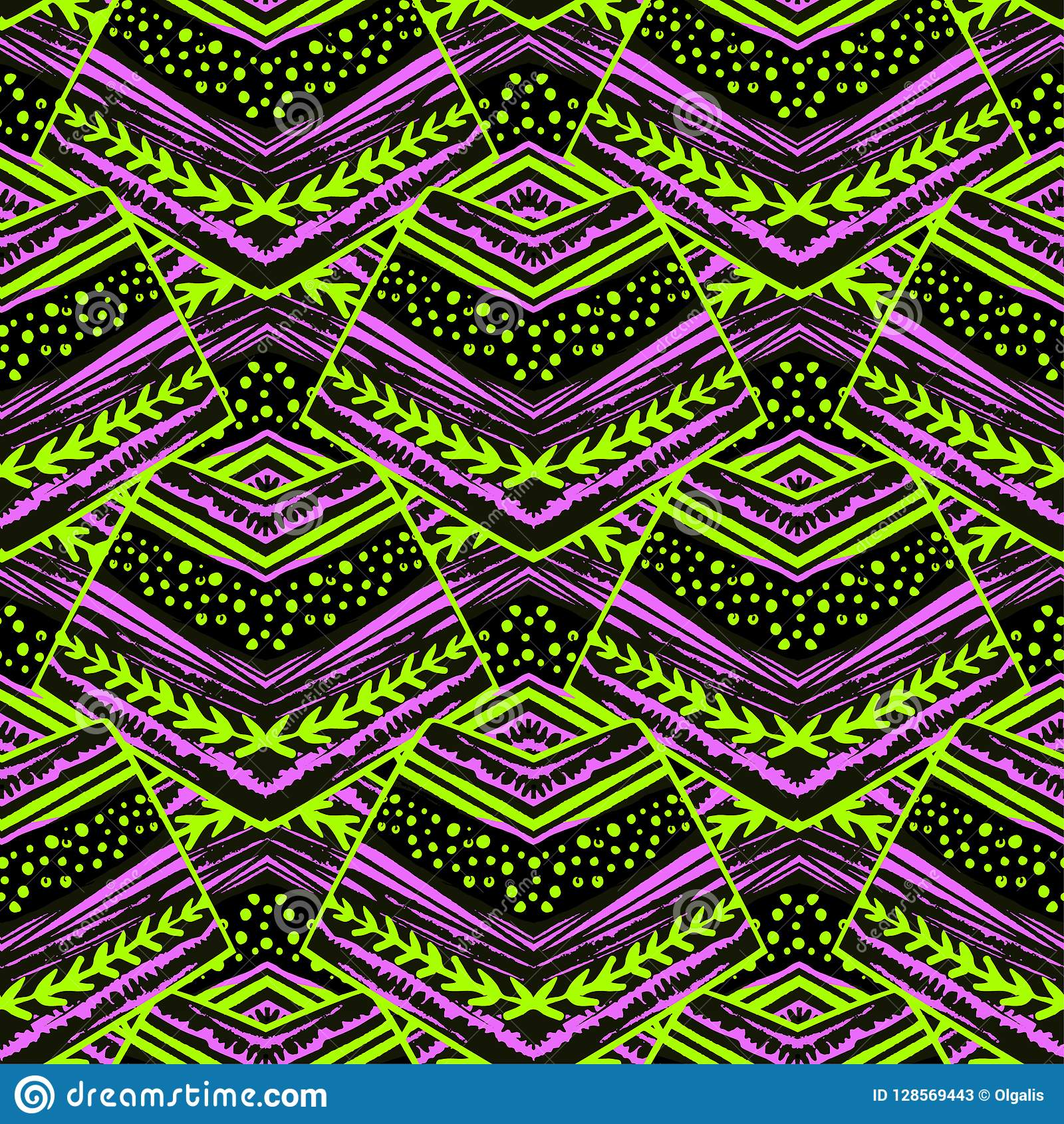 Seamless striped floral geometric pattern.Trendy print with colo