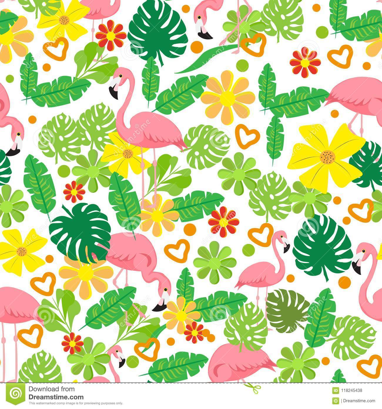 Seamless summer tropical pattern with flamingo, exotic flowers, leaves vector background. Good for wallpapers, web page background