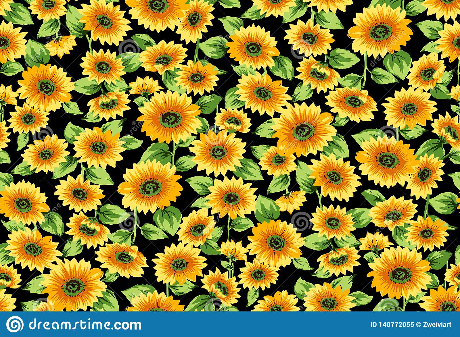 seamless sunflowers pattern black background vintage color print fashion textile wallpaper seamless sunflowers 140772055