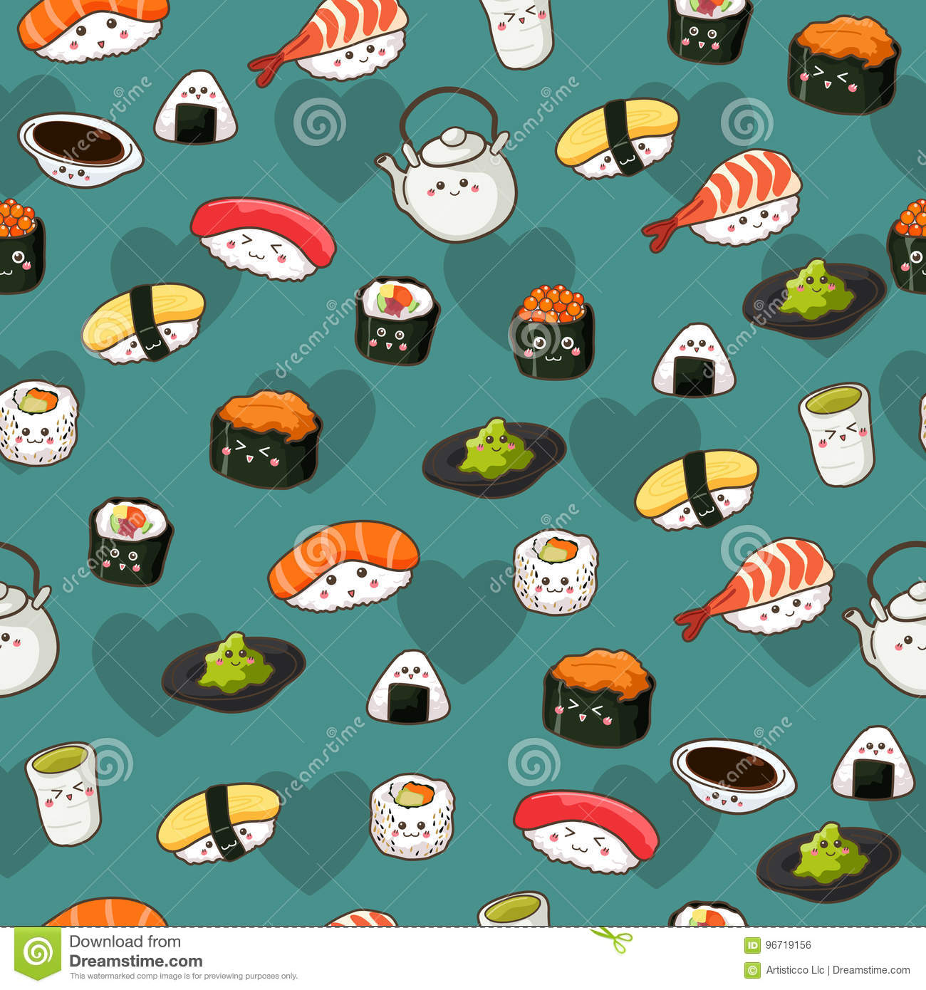 Seamless Sushi Pattern Wallpaper Background Stock Vector