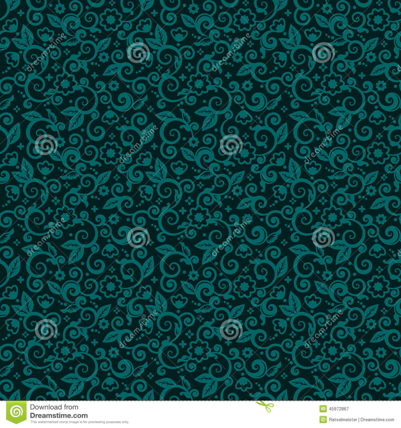 Seamless Swirly Floral Background Of Dark Turquoise Winter Holidays Colors