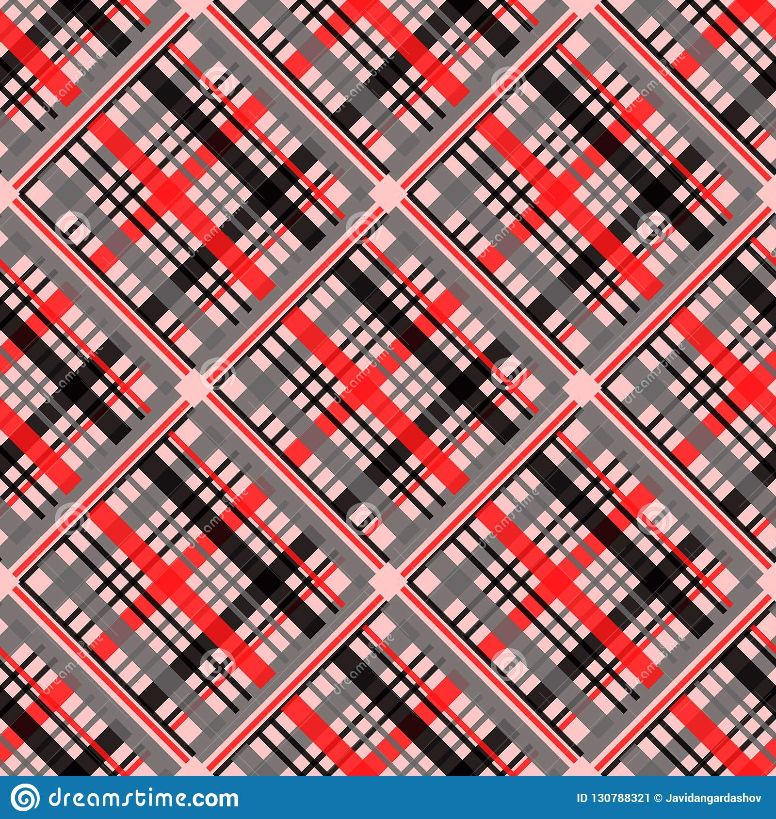 Seamless tartan plaid pattern in stripes of red, black and white. Checkered twill fabric texture. Vector swatch for digital textil