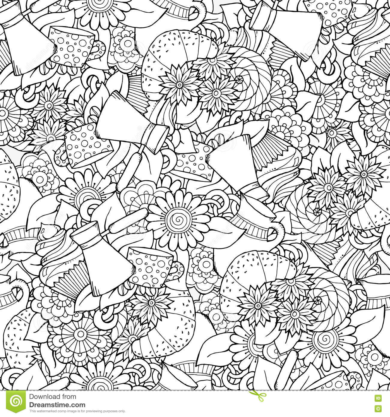 seamless doodle coffee pattern - photo #10