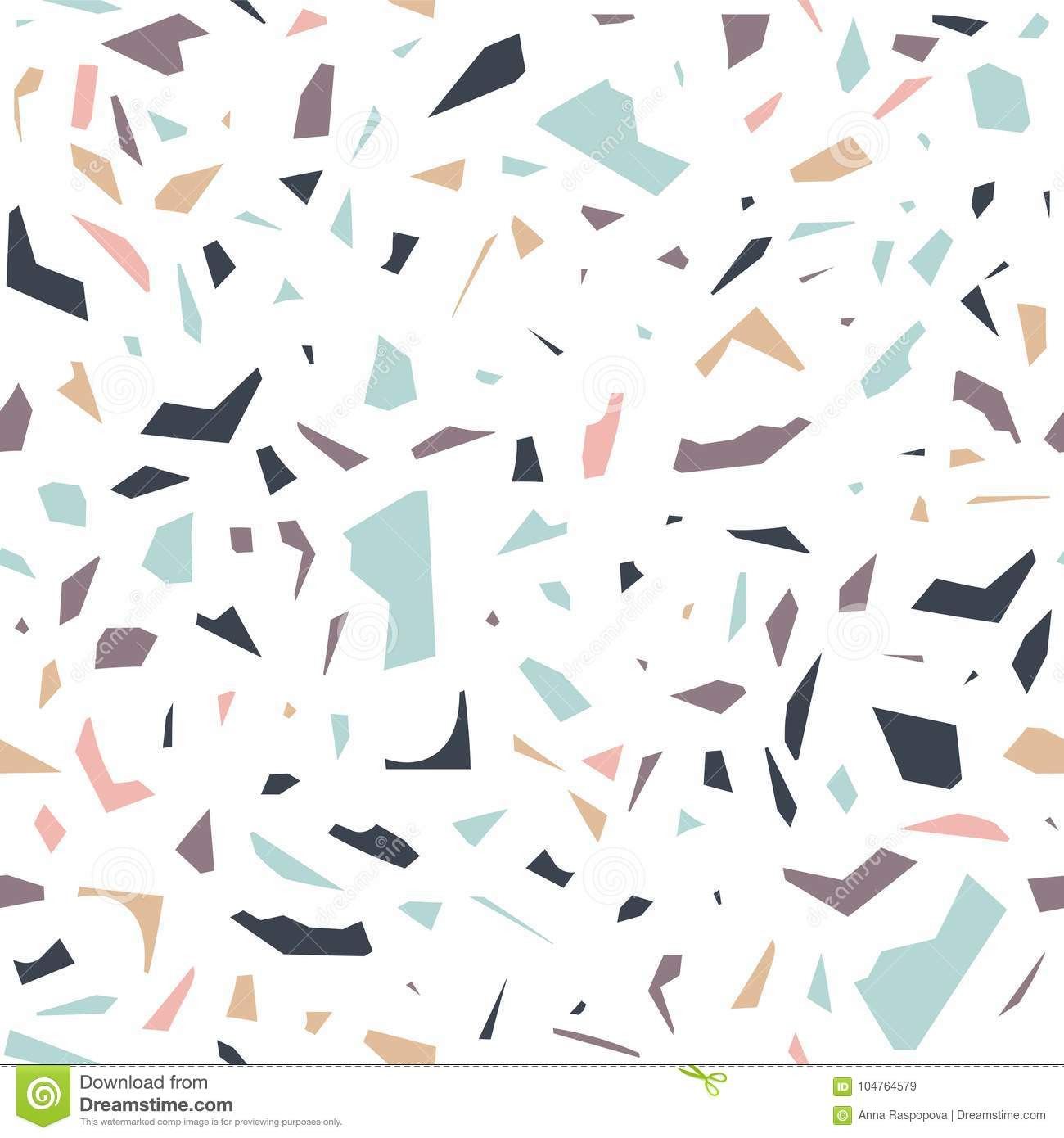 Seamless Pattern With Abstract Terrazzo Ornament On White Background