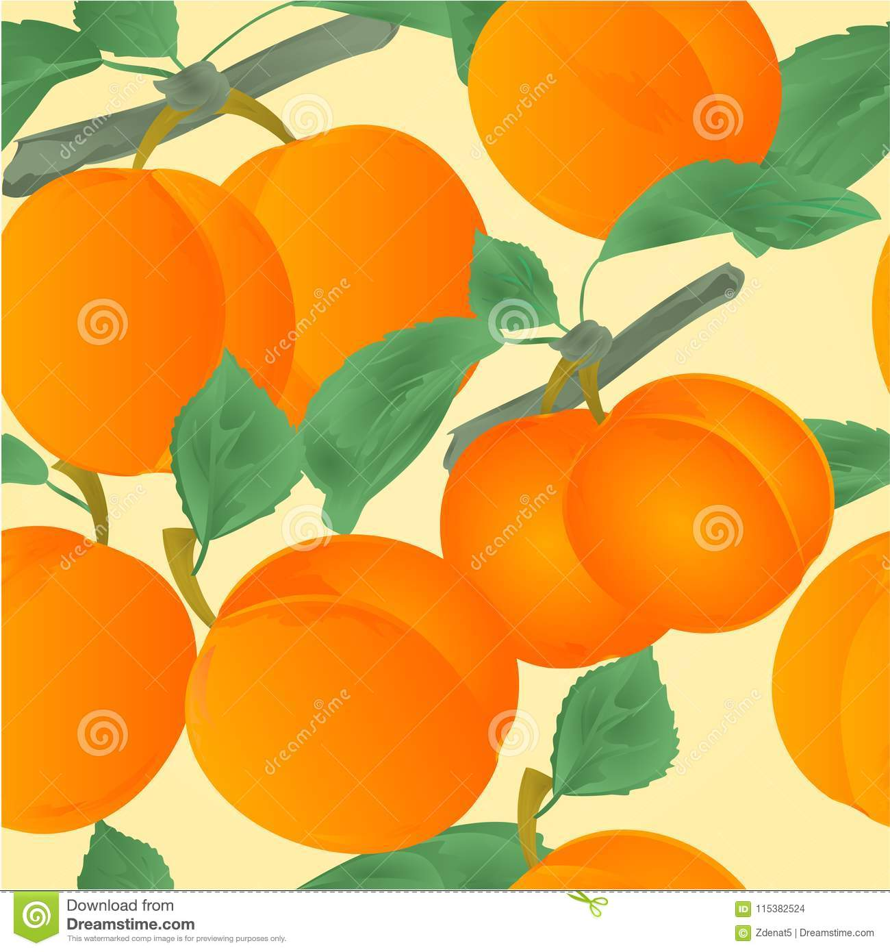 seamless texture apricots with leaves dessert fruit vector