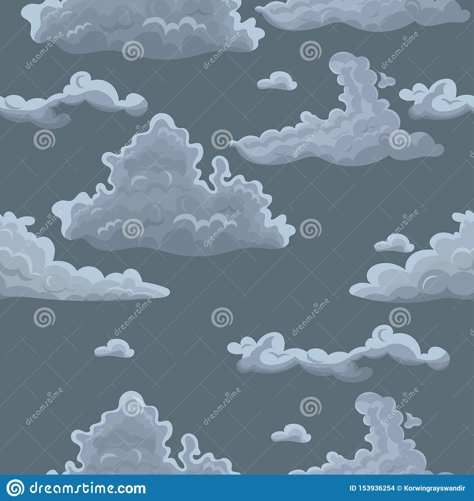 Seamless texture with clouds. Vector template for textile, wrapping paper and other
