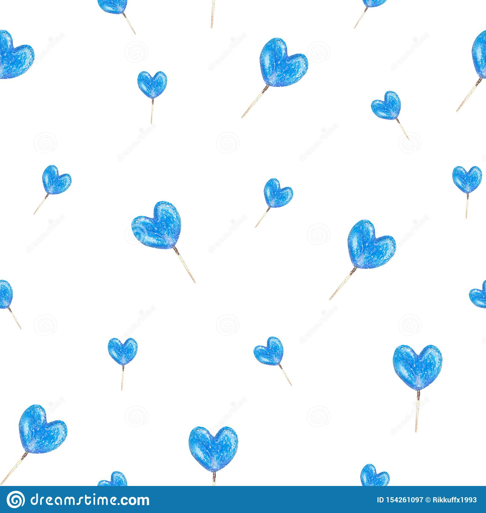 Seamless texture of a hand drawn blue heart lollipops made by oil pastels. Isolated on a white background