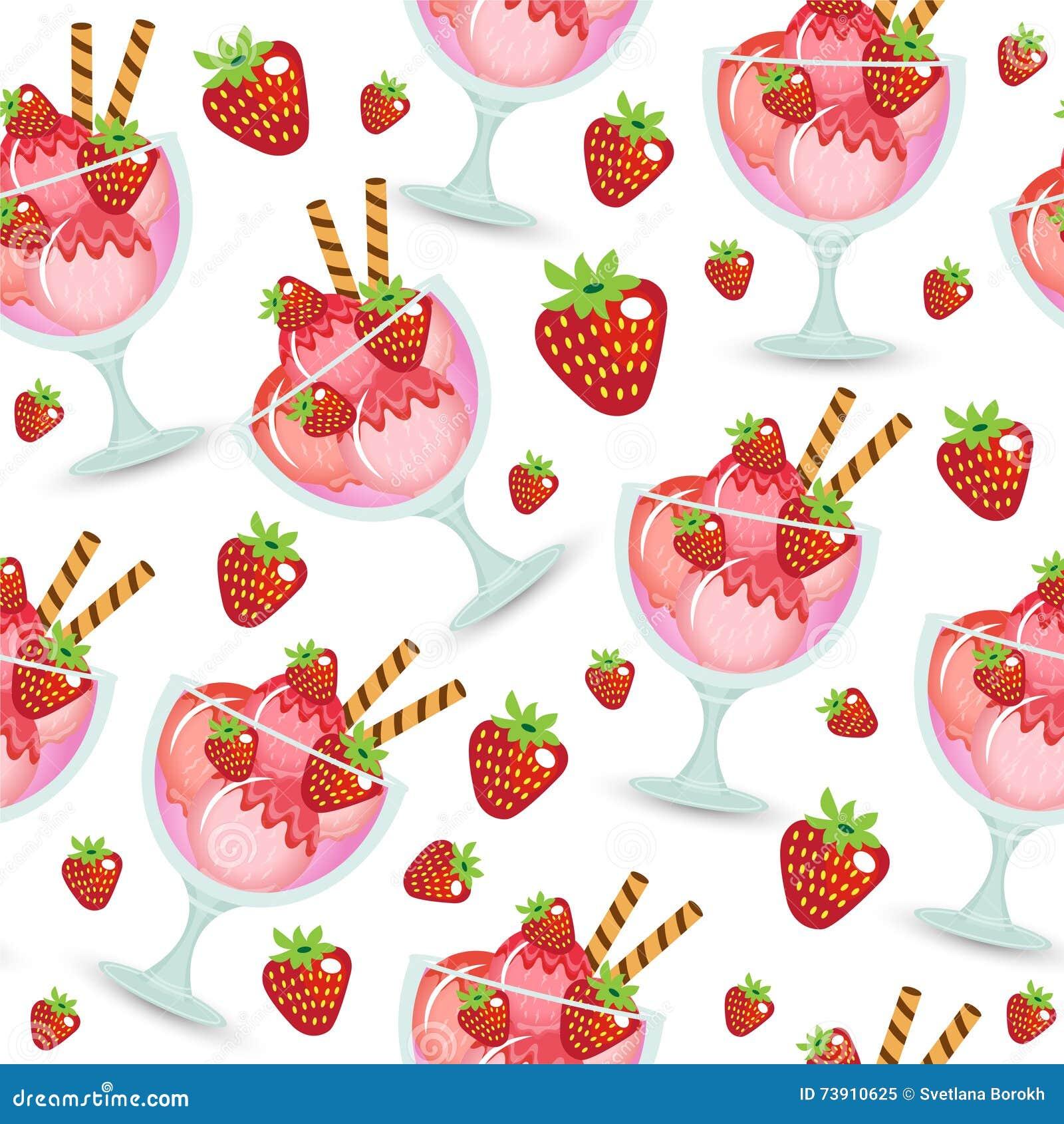 Dessert Yummy Ice Cream Wallpapers: Seamless Texture Of Ice Cream Dessert In A Glass Cup. Milk