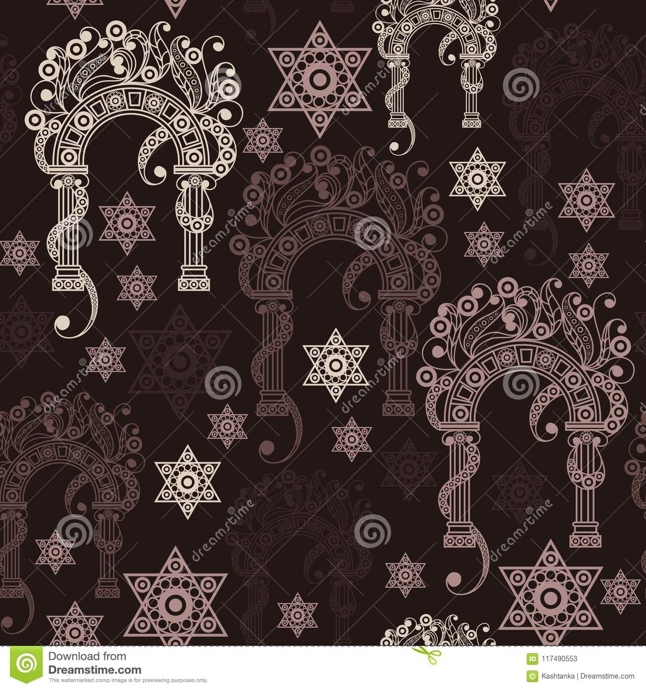 Seamless Texture With Occult Symbol 7 Stock Vector Illustration Of