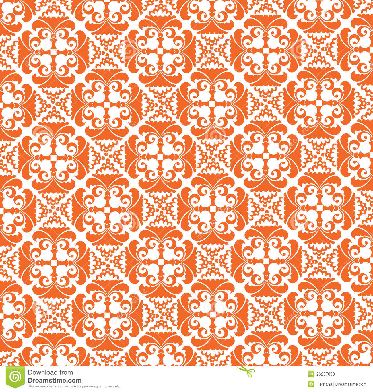seamless texture from orange floral motif stock vector image 26237898. Black Bedroom Furniture Sets. Home Design Ideas