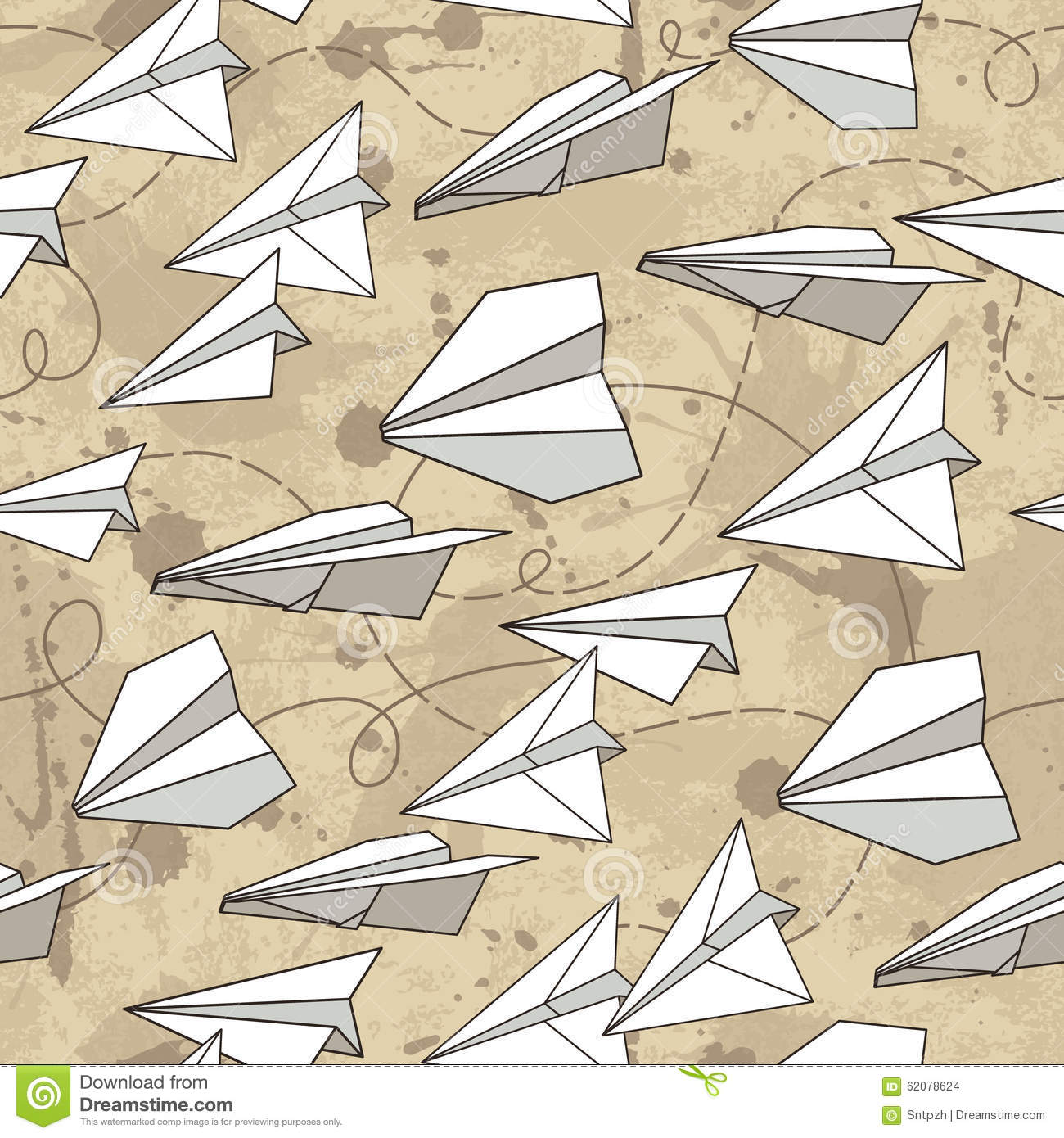 Seamless texture with paper planes.