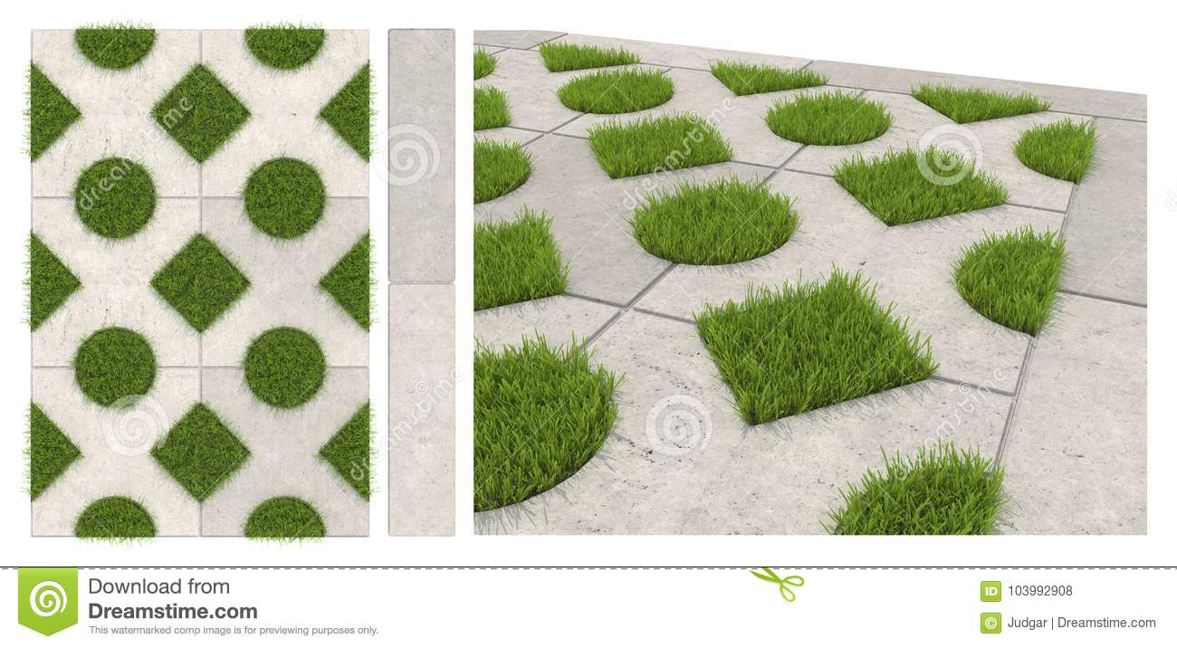 Seamless Texture Of Sidewalk Tile With Holes For Grass