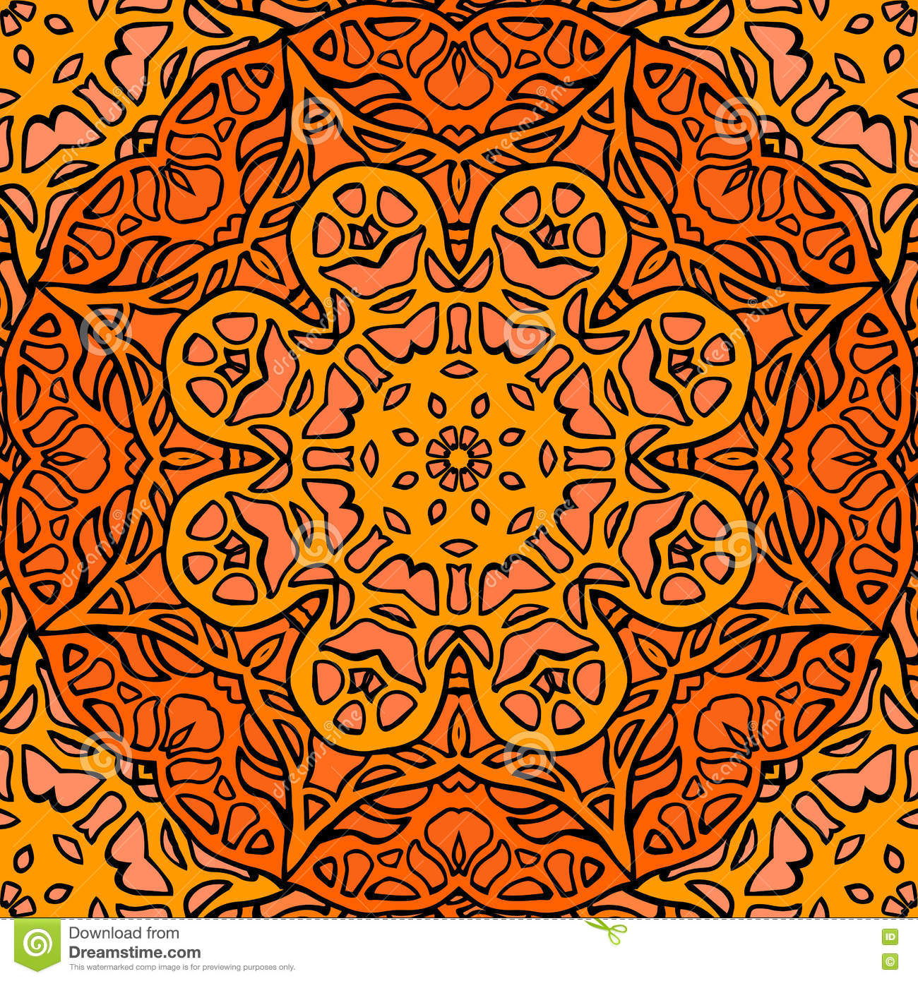 Seamless Texture Of Stained Glass. Doodle Pattern. Stock