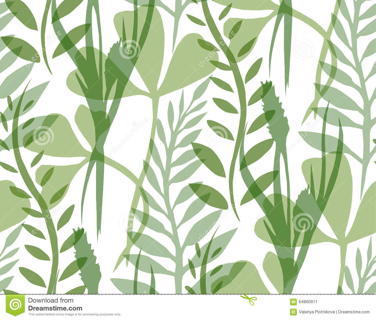 Seamless Texture With Transparent Plants And Herbs Stock Vector