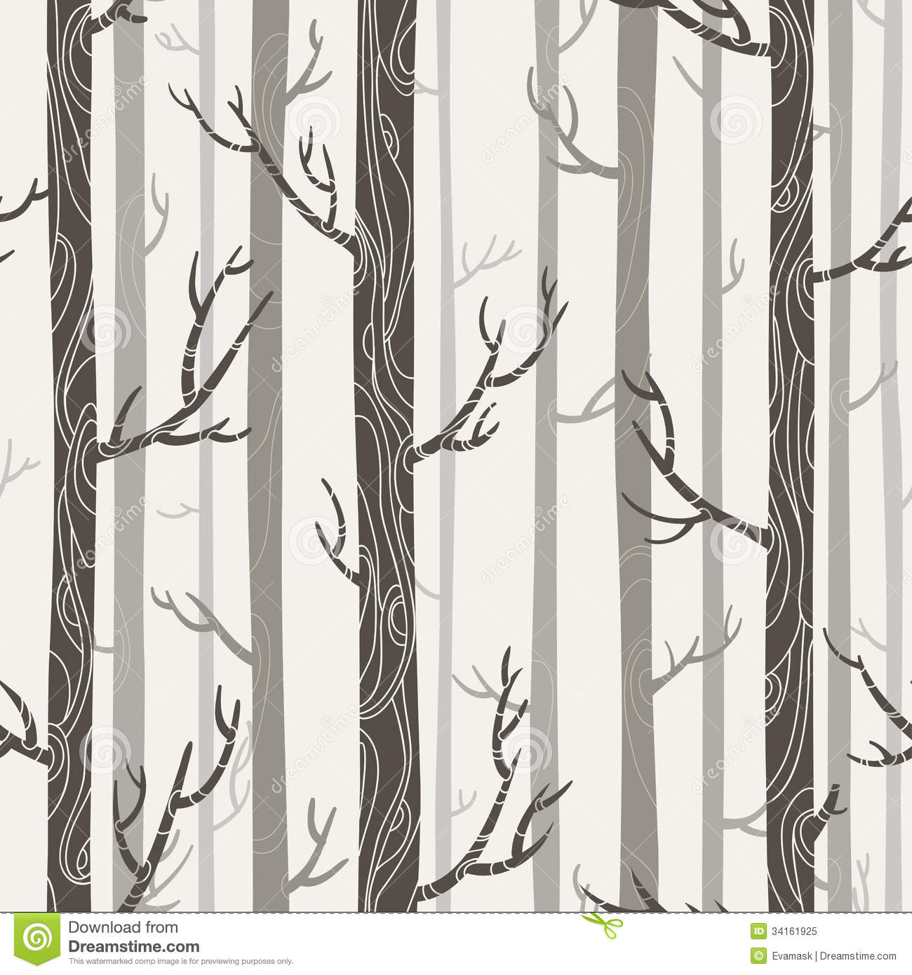 Seamless Texture With Trees Royalty Free Stock Photo