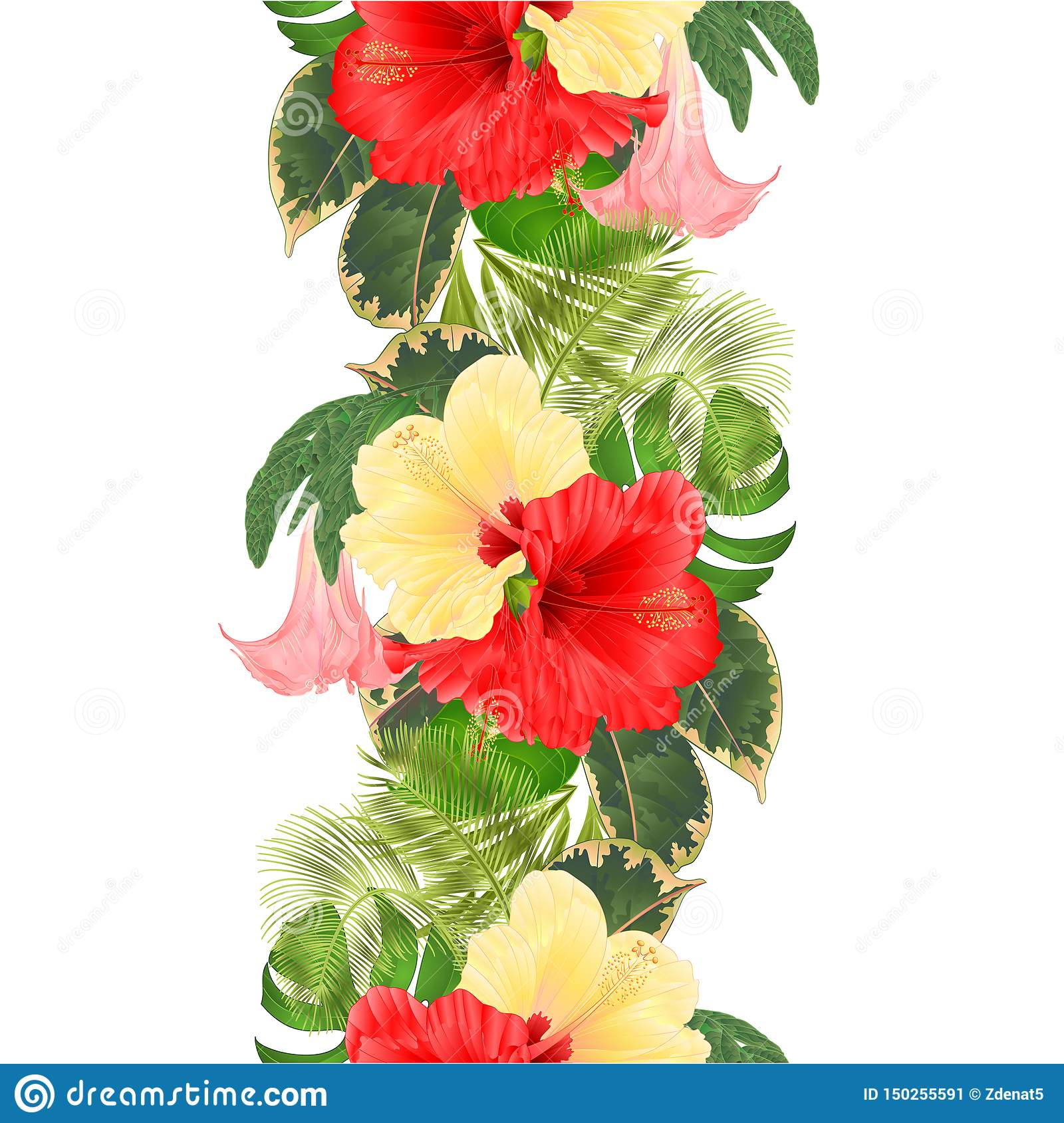Seamless Texture Tropical Flowers Floral Arrangement With Red And