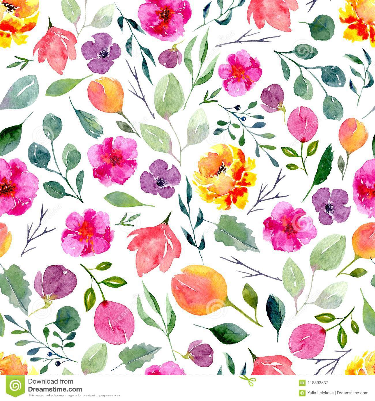 seamless texture of watercolor flowers and leaves bright summer