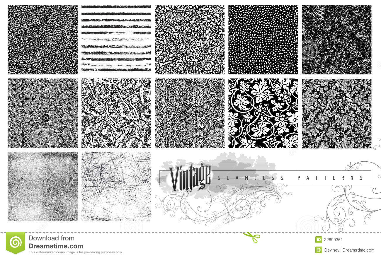 Download Seamless Textures And Patterns Stock Illustration - Illustration of vines, illustration: 32899361