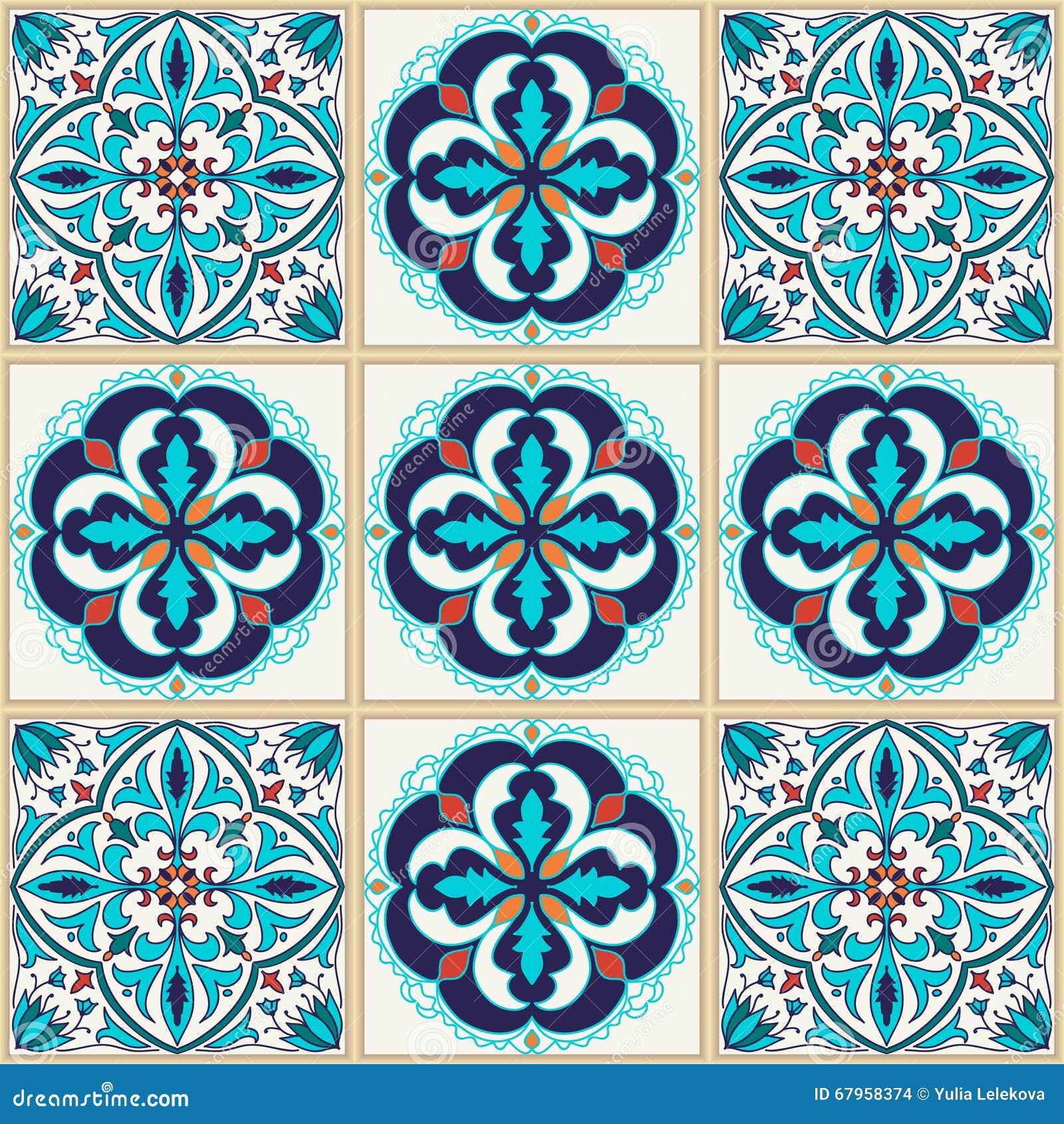 Seamless texturvektor Härlig kulör modell för design och mode med dekorativa beståndsdelar