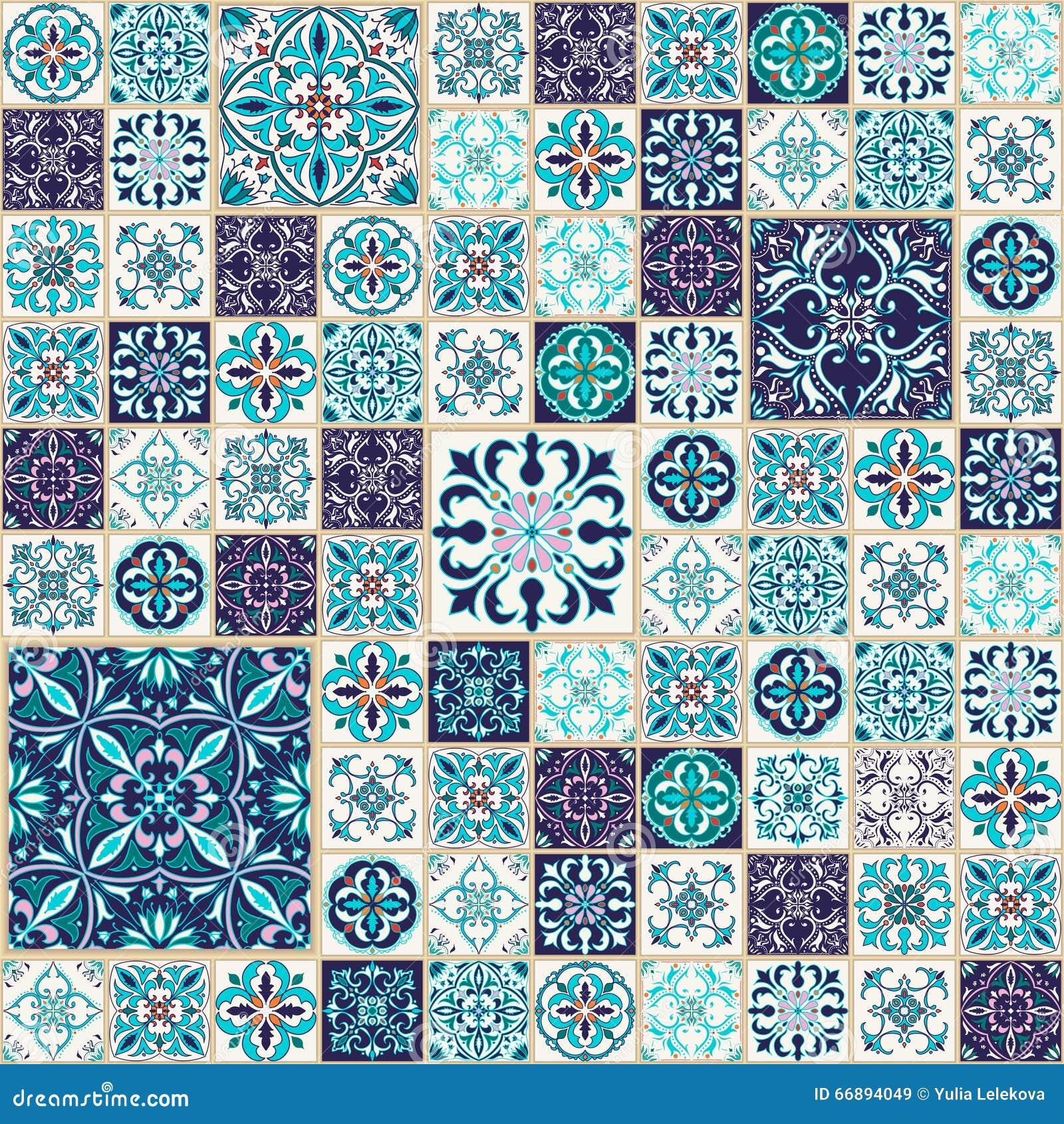Seamless texturvektor Härlig patchworkmodell för design och mode med dekorativa beståndsdelar