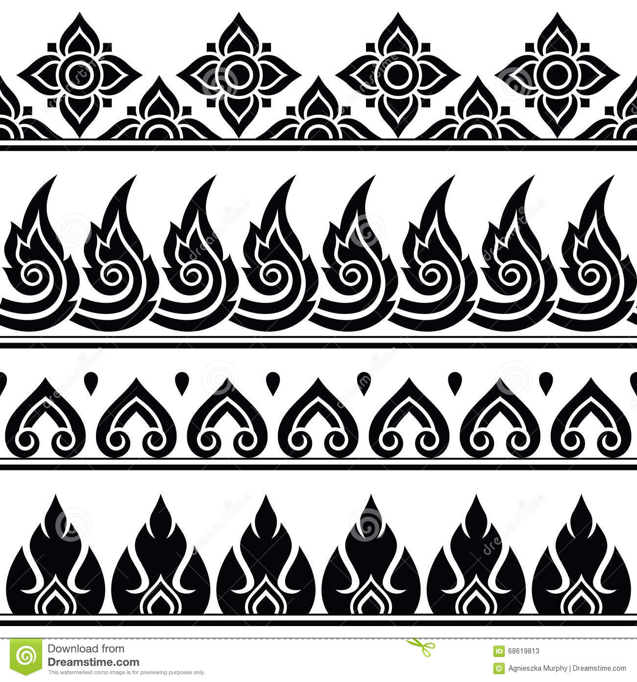 Seamless Thai Pattern Repetitive Design From Thailand