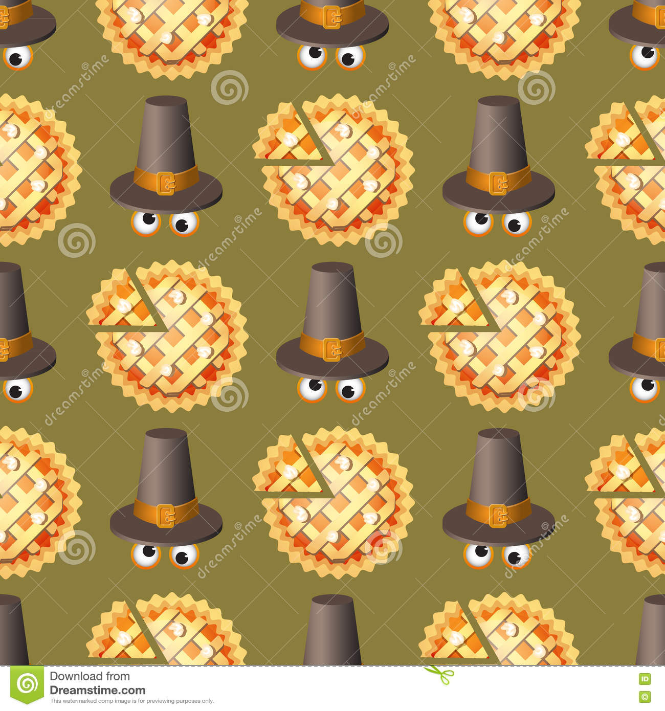 Seamless Thanksgiving Day Pattern With Pumpkin Pie And Hat. Stock ...