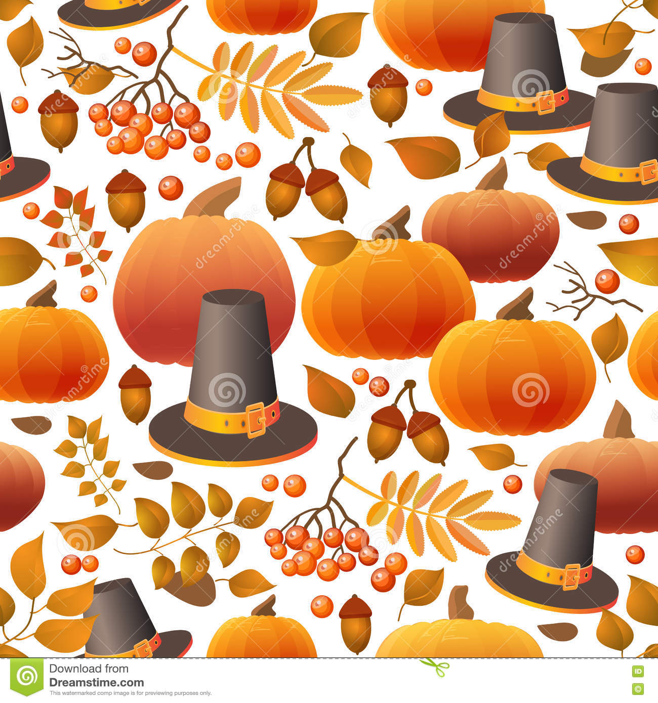Seamless Thanksgiving Day Pattern With Pumpkins, Hats And ...
