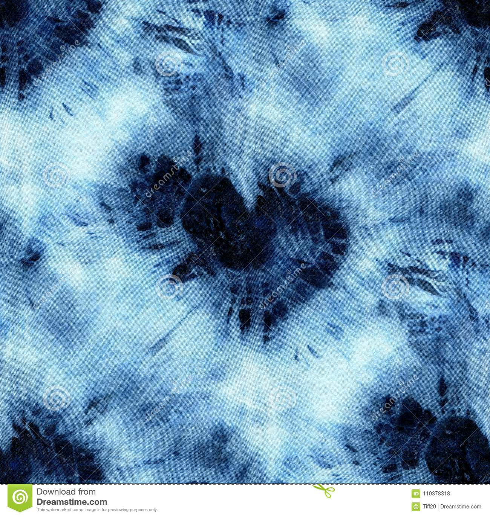 Seamless tie-dye pattern of indigo color on white silk