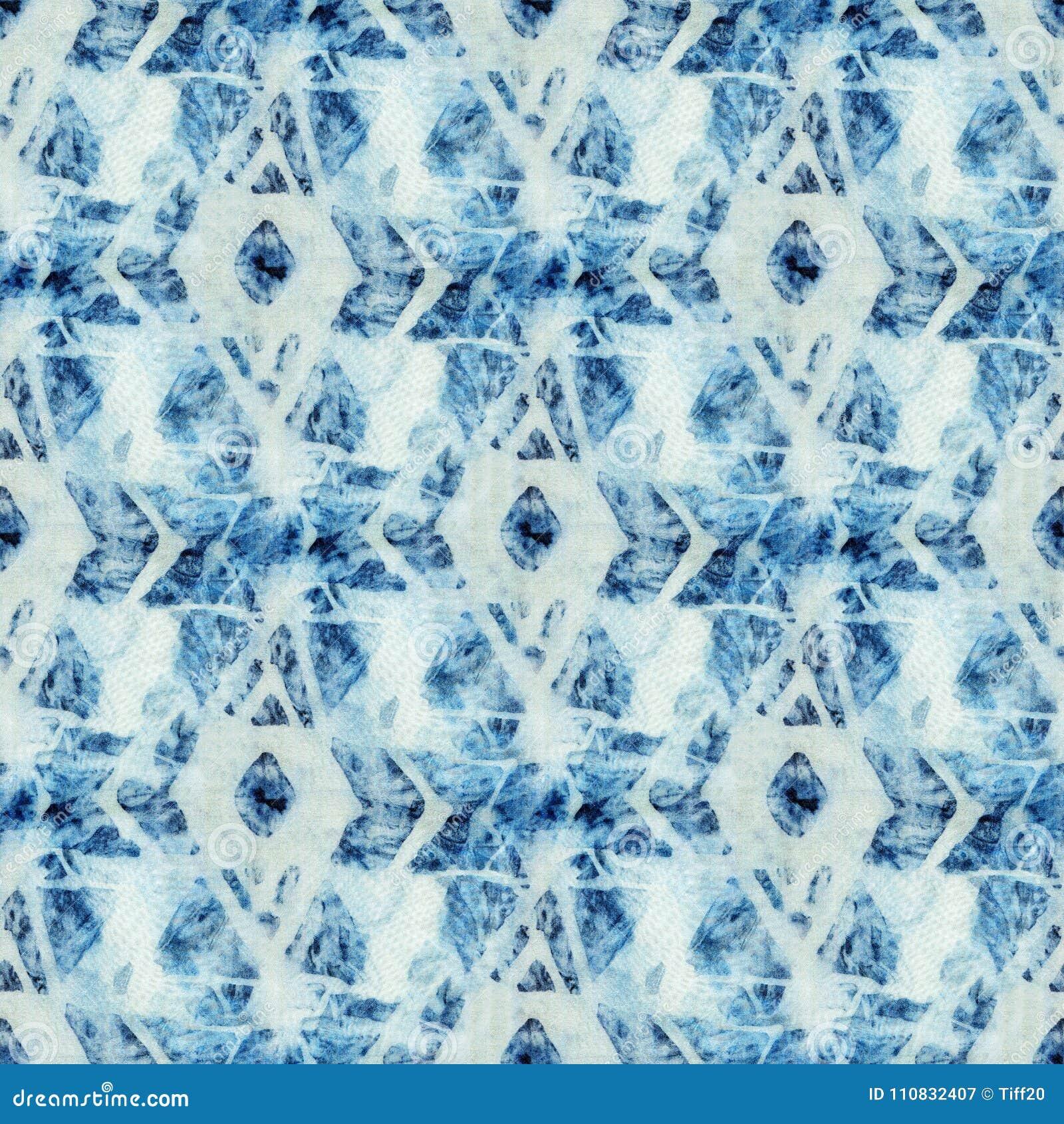 Seamless Tie-dye Pattern Of Indigo Color On White Silk Stock