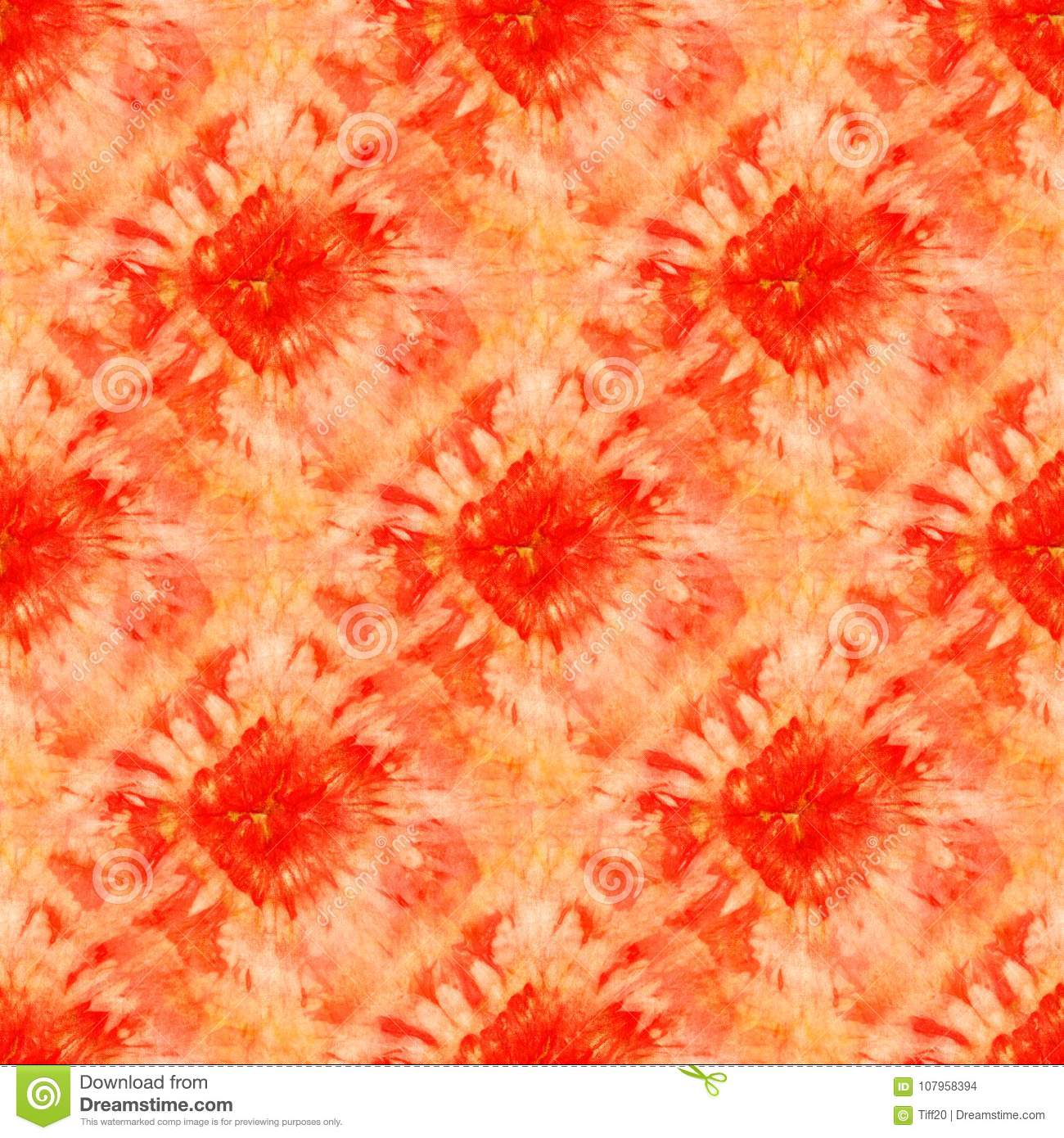 26ee97181c0f Seamless Tie-dye Pattern Of Red And Orange Color On White Silk ...