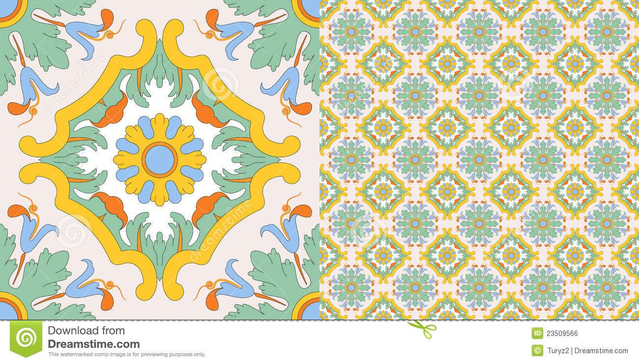 Seamless Tile Decoration In Old Sicilian Style Royalty