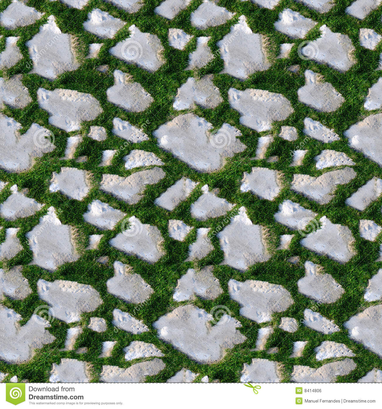 Seamless Tile Pattern Of Grass And Rock Stock Photo