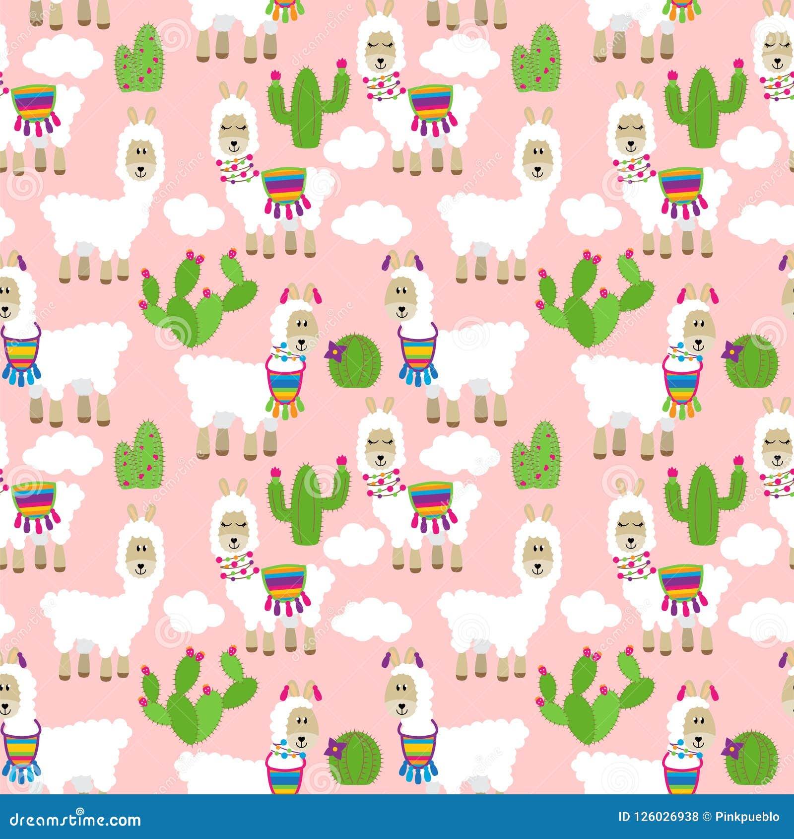 Llama Wallpaper: Seamless, Tileable Llama And Cactus Pattern Stock Vector