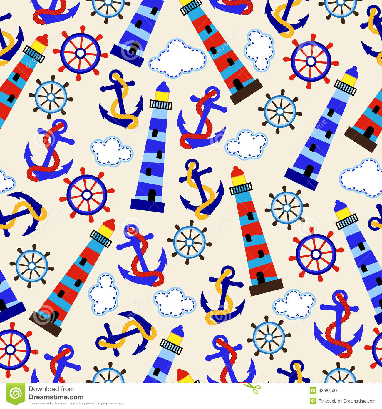Seamless Tileable Nautical Themed Vector Background Or ...